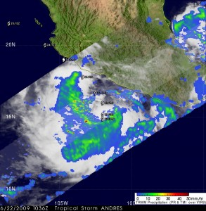 TRMM captured Tropical Storm Andres Rainfall Image by NASA/SSAI, Hal Pierce