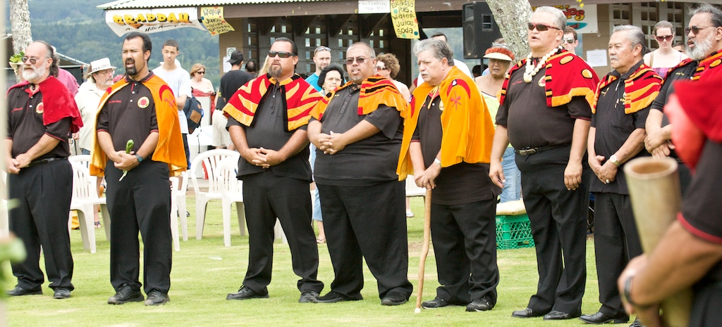 The Royal Order of Kamehameha presented hookupu and honors King Kamehameha the Great. A panoramic view of the gathering.