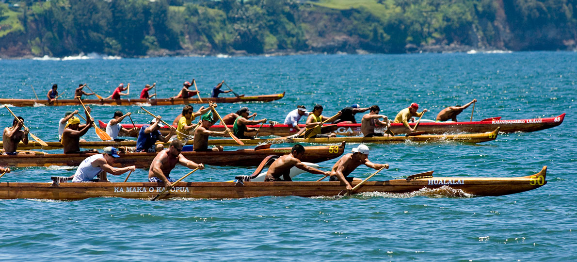 The Freshmen Men's 1 mile race in Hilo Bay during the Puna Canoe Club regatta Saturday, July 4th.