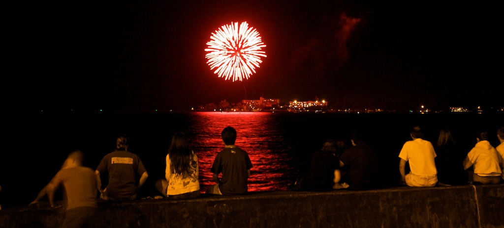Skyrockets boomed over Hilo Bay with a show to cap a day of 4th of July events.
