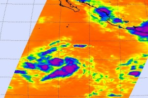 This AIRS Infrared image from July 10 shows the coldest, highest thunderstorm cloud tops of TD#4E in purple. Image credit: NASA JPL, Ed Olsen
