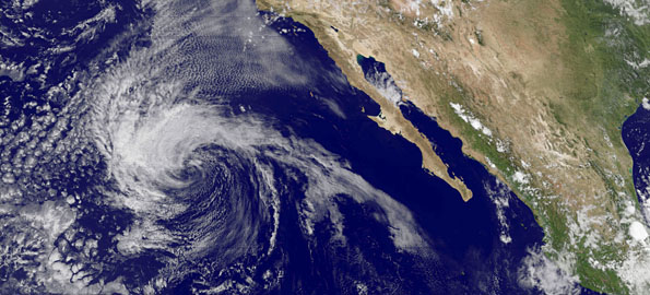 Fourth Tropical Depression likely to become Carlos over the weekend. Image by NOAA-NASA GOES Project. July 10, 2009 2100 UTC