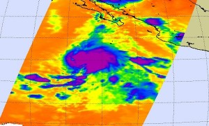 NASA's Aqua satellite captured Tropical Depression 5E's cold clouds as it strengthened into Dolores. The coldest clouds in this infrared image appear in purple. Credit: NASA JPL, Ed Olsen