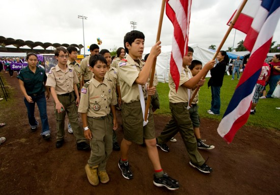 The Boy Scout color guard leads the opening of the American Cancer Society's Relay for Life in Hilo.