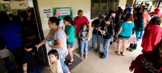Students at Waimea Middle School attend the family 'gear-up' for school event Thursday (July 30) afternoon. Students picked-up class schedules, school uniforms and registered for classes, athletics and school bus transportation.