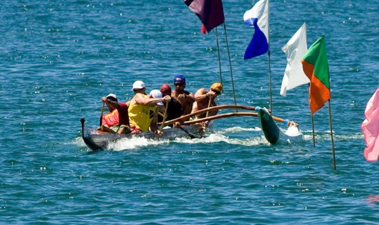 The Junior Men 1 mile race in Hilo Bay.