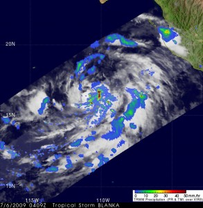 The TRMM satellite shows heavy rain, falling at about 2 inches per hour in Tropical Storm Blanca. Credit: NASA/SSAI, Hal Pierce