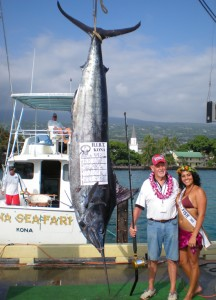 Capt. Bob Lowe's catch is the biggest of the tournament so far - with another three days of fishing still to come. (Hawaii247.com photo by Karin Stanton)
