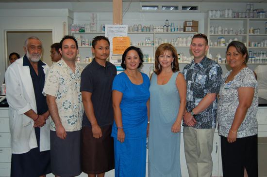 Lyndon B. Johnson Tropical Medical Center pharmacist Malaefou Anesi, left, and Chief of Pharmacy Evelyn Ahhing-Faaiuaso, right, welcome a delegation from the University of Hawaii at Hilo College of Pharmacy that includes third-year students Daniel Navas and Robert Esteban; Dr. Carolyn Ma, associate professor and chair for Pharmacy Practice and director of experiential education; and Drs. Anita Ciarleglio and Scott Holuby, assistant professors in the Department of Pharmacy Practice. (Photo courtesy of UH-Hilo)