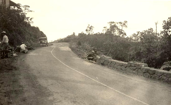 The Civilian Conservation Corps constructed the rock wall along Crater Rim Drive in March 1934. (Photo courtesy of Hawaii Volcanoes National Park)