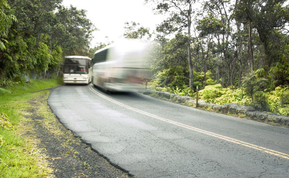 Park roads today are overwhelmed by number and size of vehicles. A park shuttle system would help protect natural and cultural features along Crater Rim Drive such as this rock wall that stands as testament to the craftsmanship of the 1930s Civilian Conservation Corps. (Photo courtesy of Hawaii Volcanoes National Park)