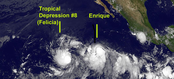 It didn't take long for the eighth tropical depression of the Eastern Pacific season to strengthen into a tropical storm. Tropical Storm Felicia's sustained winds are now up to 45 mph and getting stronger.