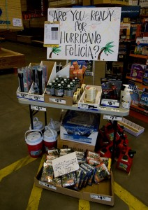 Hurricane preparedness supplies at Home Depot in Hilo. Photography by Baron Sekiya/Hawaii247.com