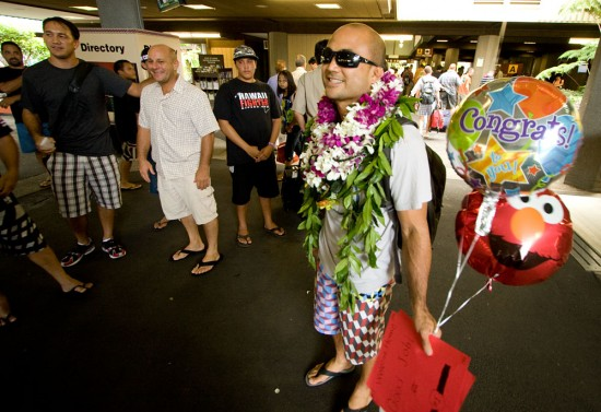 Sunday evening BJ Penn is greeted at Hilo International Airport by friends and family.