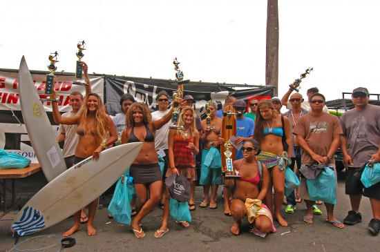 Contestants in the 25th Annual Quiksilver/Kamaaina Nissan Big Island Pro-Am Surfing Trials August 9, 2009 - at Honoli'i in Hilo, Hawaii.