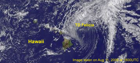 Satellite image taken at Aug 11 at 1800 UTC. Images courtesy of NOAA-NASA GOES Project Click on image above for full earth image.