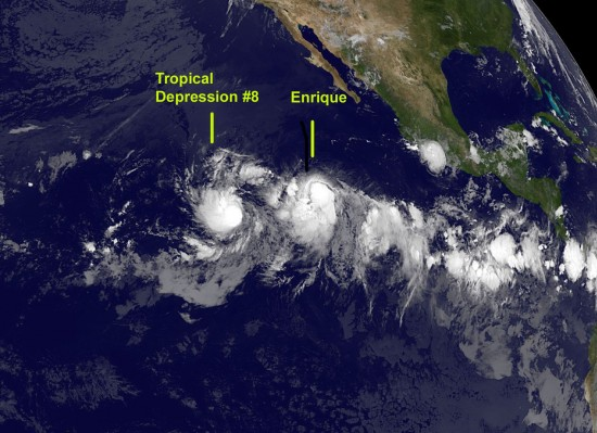 The GOES-11 satellite captured an infrared image of Tropical Depression 8e's (left) and Tropical Storm Enrique's (right) clouds in the early morning hours of August 4, 2009 in the Eastern Pacific Ocean. Credit: NASA/NOAA GOES Project