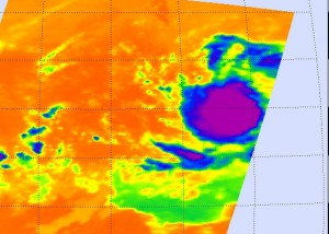 > View larger image NASA's AIRS instrument captured an infrared image of Felicia on Aug. 4 at 6:29 a.m. EDT, just as it strengthened into a tropical storm. The tight rounded shape indicates an organized storm. Credit: NASA JPL, Ed Olsen