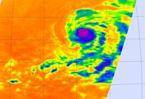 This infrared satellite image shows Hurricane Felicia's cold clouds (depicted in purple and blue) and thunderstorms in the eastern Pacific Ocean on Aug 7, 2009. Credit: NASA JPL, Ed Olsen