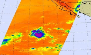 This AIRS Infrared image from August 10 shows cold high clouds (in blue) from TD9E are in two areas, indicating a disorganized tropical cyclone. Credit: NASA/JPL, Ed Olsen
