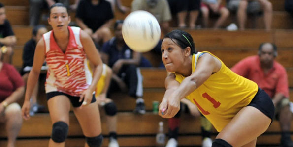 In BIIF girls volleyball it was a David versus Goliath match. Unlike the fairytale, the St. Joseph's Lady Cardinals (David) were unable to defeat the stronger Waiakea Warriors (Goliath). The D-I Warriors made quick work by defeating the D-II Lady Cardinals in straight sets.