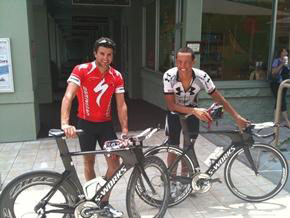 Terenzo Bezonne and Chris McCormack get on track ahead of next month's Ironman. (Photo courtesy of Ironman)