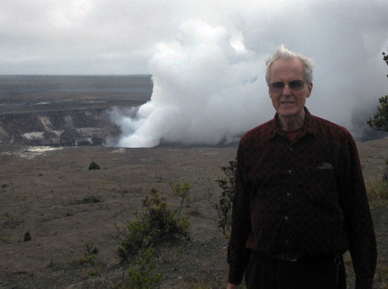 Dr. Tom Wright contemplating the new vent within Halemaumau Crater. (Photo courtesy of Hawaiian Volcano Observatory)