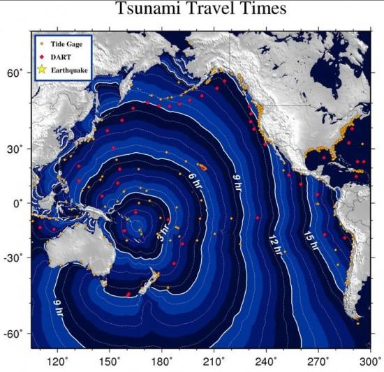 Tsunami travel times from Vanuatu