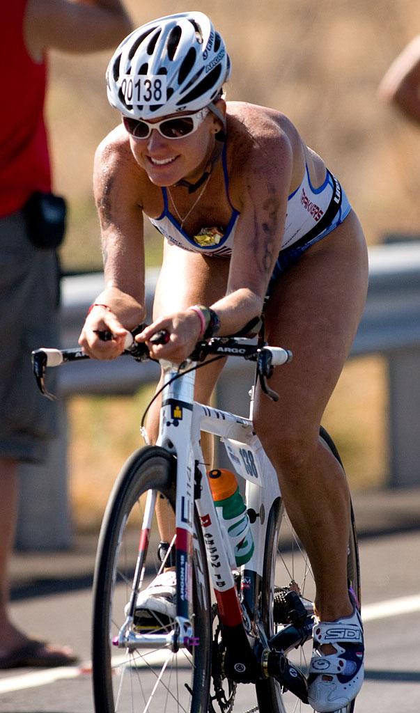The Big Island's Bree Wee on Queen Kaahumanu Highway in Kawaihae during the bike leg of the Ironman Triathlon. Photography by Baron Sekiya.