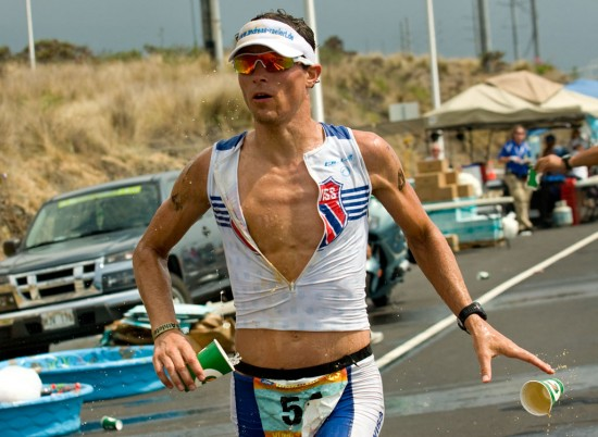 Andreas Raelert on the marathon run for the 2009 Ford Ironman Triathlon World Championship.