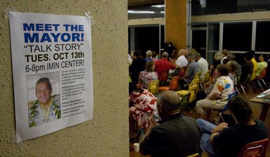Mayor Billy Kenoi's 'talk-story' session at the Kona Imin Center in Holualoa.