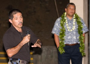 Quince Mento, Hawaii County Civil Defense Director, and Mayor Billy Kenoi talk about the tsunami advisories issued the past month.