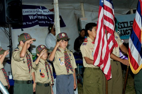 Boy Scout Troop 27 provides the color guard and opens the Relay for Life event at Waimea Park.