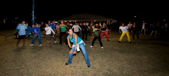 Zumba by Sheila/Andrea keeps the crowd moving during the Relay for Life Saturday night in Waimea.