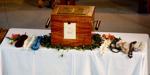 Visit marks true homecoming for St. Damien, who served the people of Kohala for eight years. The first-class relic, bone from his foot, has been given to the Catholics of Hawaii for custody and veneration.