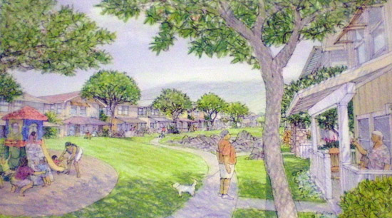 Strips of housing will face onto a common green area. (Hawaii247 photo by Karin Stanton)