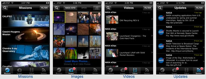 The New Media Team at NASA Ames Research Center has developed the first NASA iPhone application to deliver up-to-the-minute NASA content directly from Agency sources in one easy-to-use mobile platform. The software makes extensive use of built-in iPhone features and usability to offer NASA information in a clear and intuitive way.