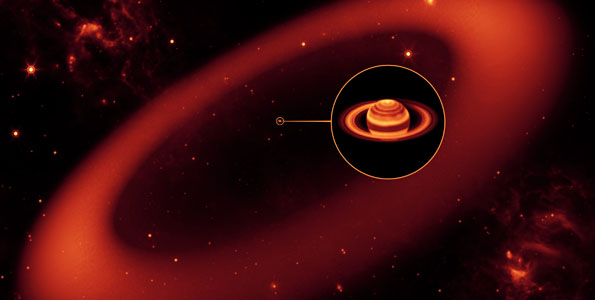 NASA's Spitzer Space Telescope has discovered an enormous ring around Saturn -- by far the largest of the giant planet's many rings.  The new belt lies at the far reaches of the Saturnian system, with an orbit tilted 27 degrees from the main ring plane. One of Saturn's farthest moons, Phoebe, circles within the newfound ring, and is likely the source of its material.