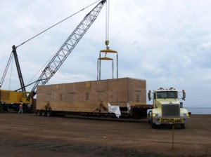 The truck carrying the kiln arrives at the Kawaihae Big Island Carbon project site.