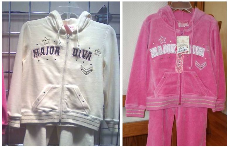 """This recall involves girl's velour hooded sweatshirts with a zip front. The sweatshirts were sold as a part of a 2-piece set. """"Major Diva"""" is printed on the front of the sweatshirts. The tag on the inside of the sweatshirts reads, """"2b REAL."""" The sweatshirts were sold in hot pink, light pink, ivory and khaki, and in sizes 4, 5/6 and 6X."""