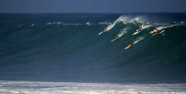 Videos of the epic surfing on the North Shore of Oahu at Waimea Bay and Banzai Pipeline.