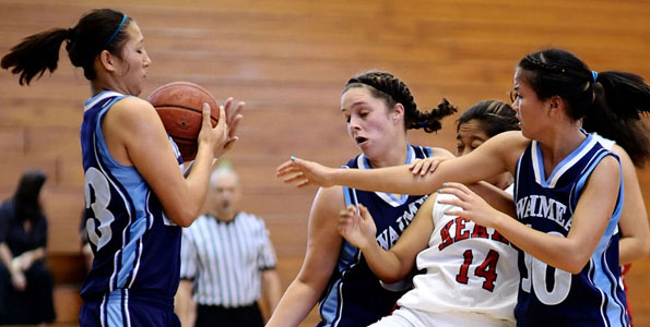 It's tip-off time... The girls preseason basketball game got started when Keaau and Waimea (Kauai) tipped of at the Waiakea Girls Tournament Thursday (Dec 3).