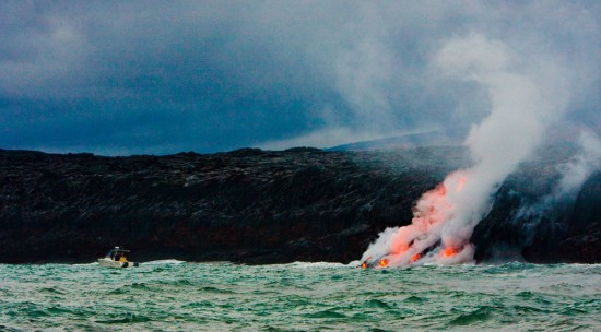 Tour operators have taken to the ocean to give visitors the closest look possible of lava entering the sea.