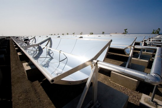 Mirrored solar collectors at a new solar farm by Sopogy called Holaniku at Keahole Point. (Hawaii 24/7 photo by Baron Sekiya)