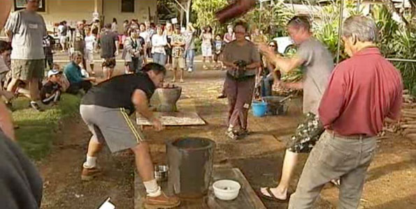 "Wailea Village 12th annual mochi-tsuki celebration in making traditional rice cakes the ""old-fashioned"" way. Everyone took their turn at pounding the glutinous sticky rice for good luck."