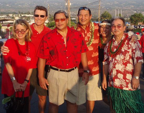 Pictured from left are: Kona Mayor's Office secretary Megan Mitchell, Housing Director Steve Arnett, Deputy Managing Director Wally Lau, Public Works Director Warren Lee, Deputy Planning Director Margaret Masunaga, and Big Island Prosecutor Jay Kimura. (Hawaii 24/7 photo courtesy of Margaret Masunaga)