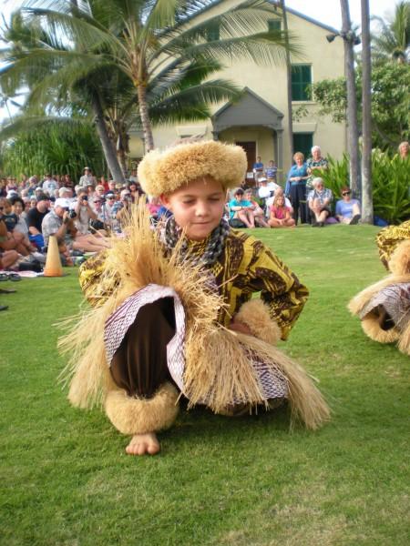 A of the junior kane from Halau Na Pua Ui O Hawaii performs Sunday at Hulihee Palace. (Hawaii 24/7 photo by Karin Stanton)