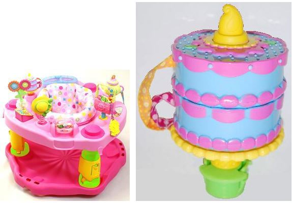 The candle flame attached to the top of the cake toy can detach, posing a choking hazard to young children. Evenflo has received 11 reports of the toy flames detaching. Five of the incidents occurred in the United States and six in Canada. No injuries have been reported.