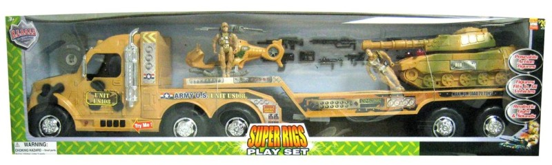 """The toy truck's surface coating contains high levels of lead, violating the federal lead paint standard. This recall involves """"Super Rig Transport"""" toy truck with trailer and vehicles. The truck and trailer are multi-colored, holding two vehicles and two action figures. """"Super Rigs Play Set"""" is labeled on the outside of the packaging. The box back has a bar code square with Item No. 67007, Made in China and Bar Code 6-98567-67007-3. The bottom of the trailer has an engraved code 45TNGO9."""