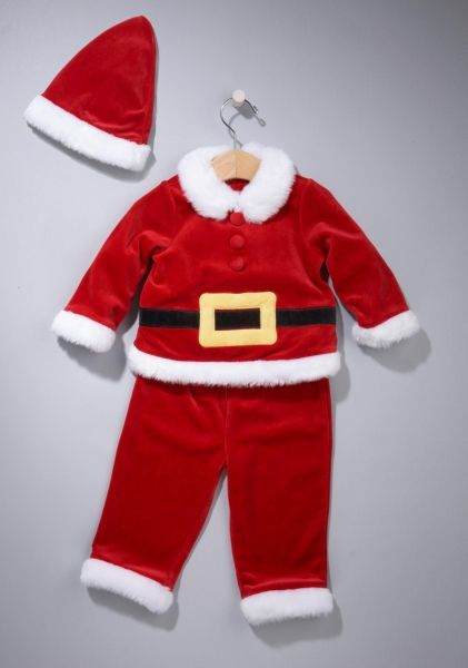 First Impressions Boy's Three-Piece Santa Set. About 9,600 sold. Loose buttons on the suit's jacket may easily detach, posing a choking hazard to young children.